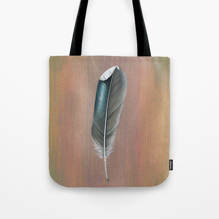 Mallard Feather on Wood Tote Bag