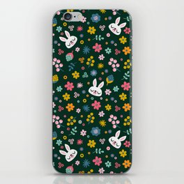 Bunny with a Scarf and Flowers / Cute Animal iPhone Skin
