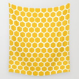 Honey-coloured Honeycombs Wall Tapestry