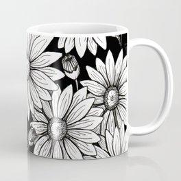Field of Daisies: Black and White Coffee Mug