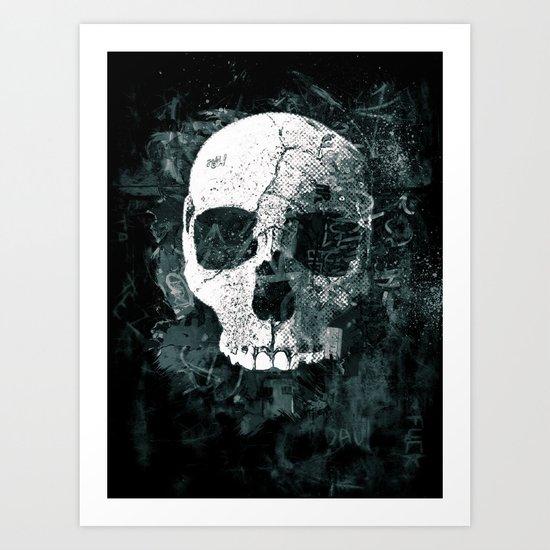 Skull Grunge Art Print
