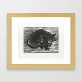 Cat with Voodoo Doll Framed Art Print