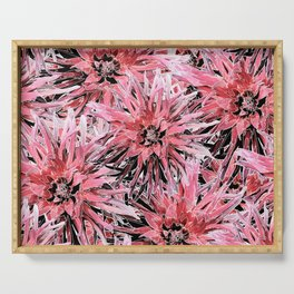 Pink with black and white dahlias Serving Tray