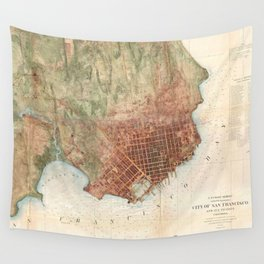Vintage Map of San Francisco California (1858) Wall Tapestry