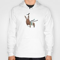 donkey Hoodies featuring Happy Donkey by Kristina Sabaite