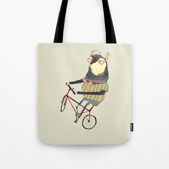 Deer on Bike.  Tote Bag