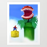 mario Art Prints featuring Mario by Steve Spavento