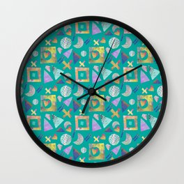 Geometric collage - turquoise Wall Clock