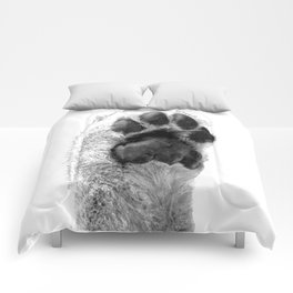 Black and White Dog Paw Comforters