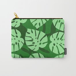 Gorgeous Green Contemporary Palm Leaves Pattern Carry-All Pouch