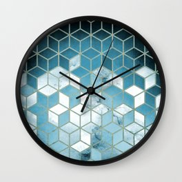 Shades Of Turquoise Blue Cubes Pattern Wall Clock
