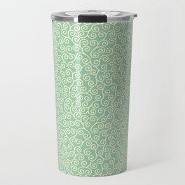 Japanese Scroll Pattern in Green & Yellow Travel Mug