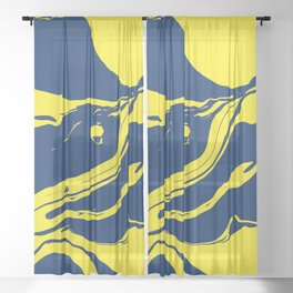 Navy and Sunflower Yellow Marble Sheer Curtain