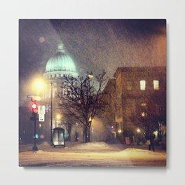 Capitol at Night in Snow Metal Print