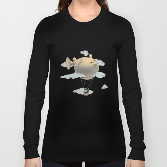 Panda fliying in a Blow fish. Long Sleeve T-shirt