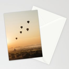 Sunset in Bagan, Myanmar with hot air balloons and temples, travel photography  Stationery Cards