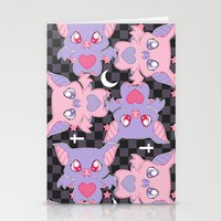 pastel goth Stationery Cards featuring Batty, The Stars Shine Bright (Pastel Goth Lolita Print) by display