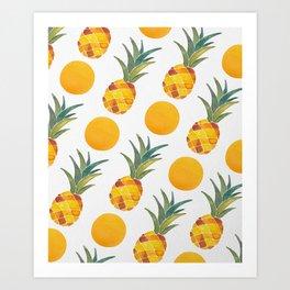 Pineapple Dot Pattern Art Print