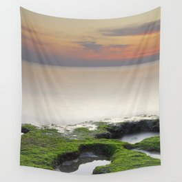 """""""Green, white and red beach"""" Wall Tapestry"""