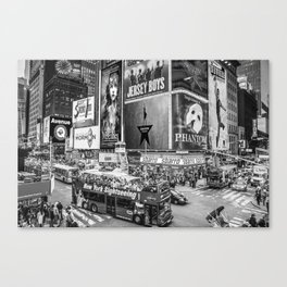 Times Square II (B&W widescreen) Canvas Print
