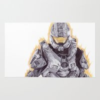 master chief Area & Throw Rugs featuring Halo Master Chief by DeMoose_Art