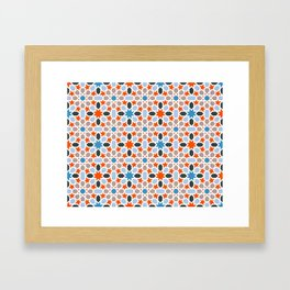 Mosaic pattern red, blue - colorful abstract oriental pattern Framed Art Print