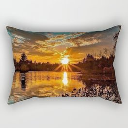 Sunset over Moswansicut Pond, North Scituate, Rhode Island Rectangular Pillow