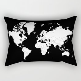 Minimalist World Map White on Black Background. Rectangular Pillow