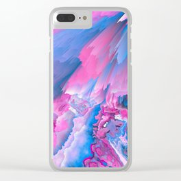 Dangerous Safety Glitched Fluid Art Clear iPhone Case