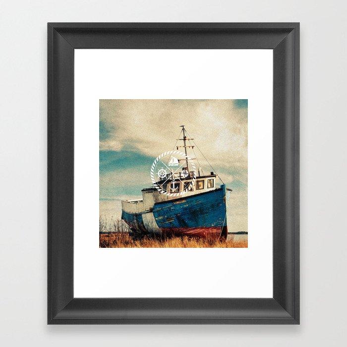 Blue Brown Vintage Nautical Anchor Sailing Boat Framed Art Print