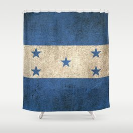 Old and Worn Distressed Vintage Flag of Honduras Shower Curtain