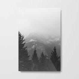 Dark Mountain Forest Foggy Landscape Metal Print