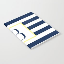 Monogram Letter B in Navy Blue it Yellow Outlined Box Notebook