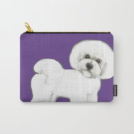 Bichon Frise dog on Ultraviolet Carry-All Pouch