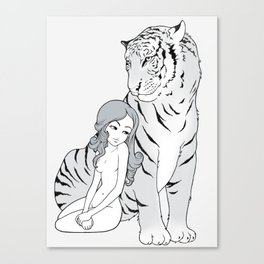 My tiger, my heart Canvas Print