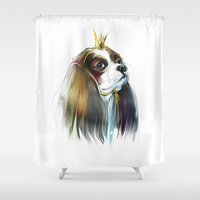 queen Shower Curtains featuring queen by tatiana-teni