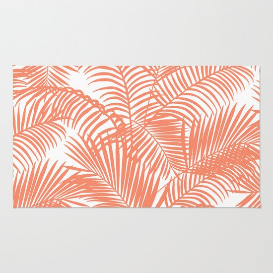 Modern Blush Coral Simple Tropical Palm Tree Pattern Rug