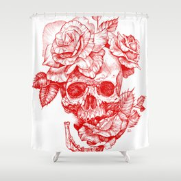 Roses and Human Skull - Red Shower Curtain