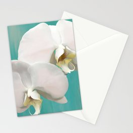 WHITE ORCHIDS - AQUA Stationery Cards