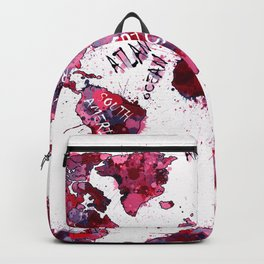 world map color splatter red Backpack