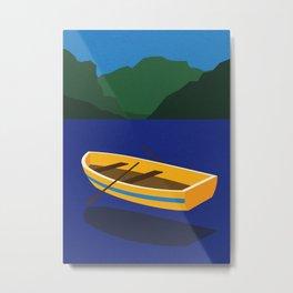Boat On The Mountain Lake Metal Print