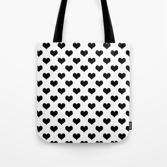 White Black Hearts Minimalist Tote Bag