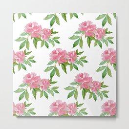 Seamless pattern of pink peonies Metal Print