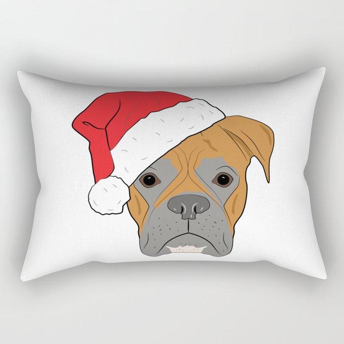 Christmas Festive Boxer dog Rectangular Pillow