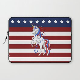 American Flag Stars and Stripes Unicorn Laptop Sleeve