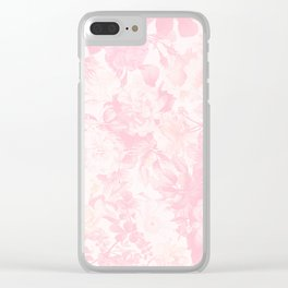 Vintage blush pink baby yellow roses flowers Clear iPhone Case