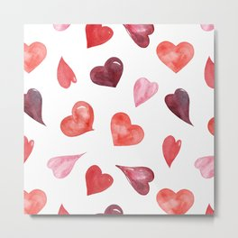 watercolor love pattern with hearts Metal Print