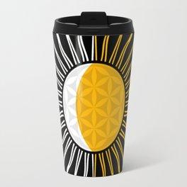 Lunar-Sol Flower Of Life Sun Moon & Stars Black White Yellow Travel Mug