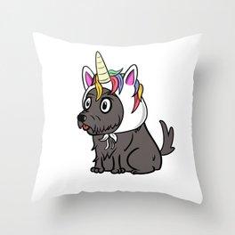 Scottish Terrier Unicorn Hat Throw Pillow