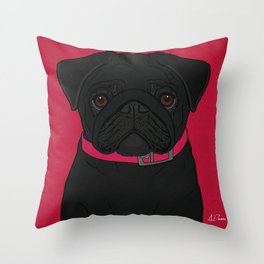 Icons of the Dog Park: Black Pug Design in Bold Colors for Pet Lovers Throw Pillow
